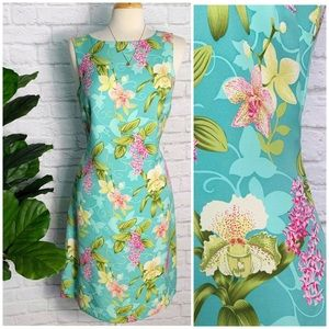 TOMMY BAHAMA 100% silk tropical floral maxi dress